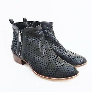 Lucky-Brand-Women-039-s-Size-9-5-Black-Laser-Cut-Ankle-Boots-Booties-Zipper