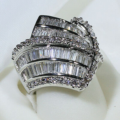 18K White Gold Filled 6.2CT CZ Women Fashion Jewelry Band Ring R2773 Size 5-10