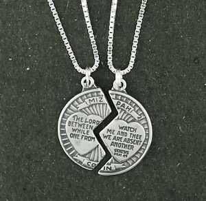 Mizpah coin pendant necklace sterling silver 18 box chain 2 piece image is loading mizpah coin pendant necklace sterling silver 18 034 aloadofball Image collections
