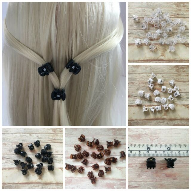 Black Brown White Clear Transparent Mini Hair Claw Clips Grips 6, 12 or 20