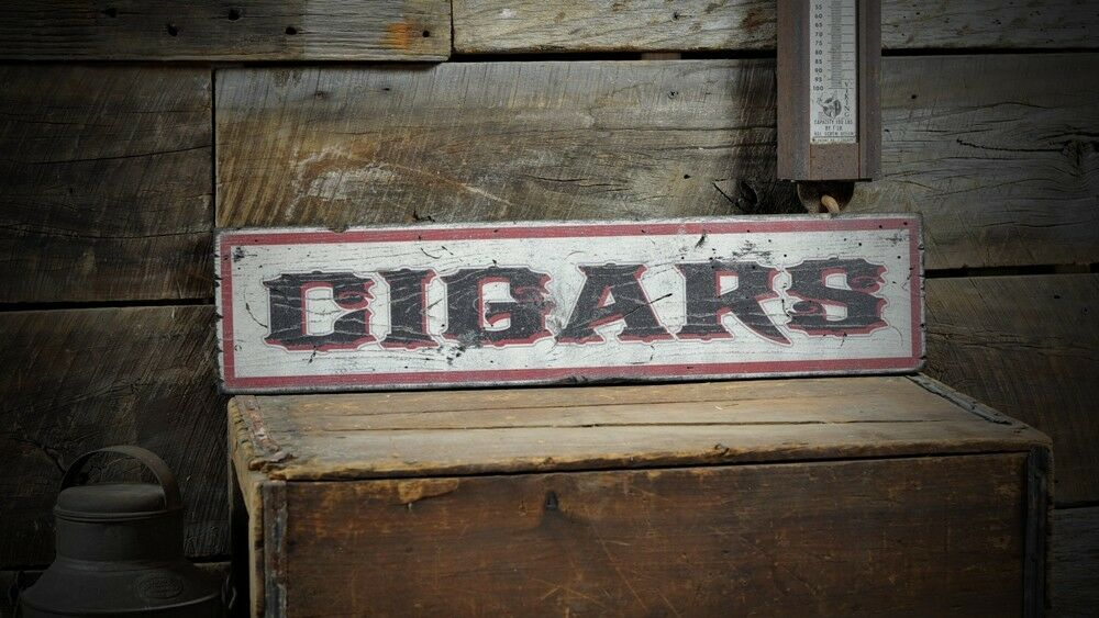 Distressed Primitive Cigars Sign - Rustic Hand Made Vintage Wooden ENS1000517