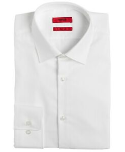 Hugo-Boss-Men-039-s-Sharp-Fit-Spread-Collar-Dress-Shirt-White-Size-15-5-32-33