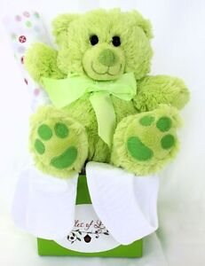 NEW-BABY-GIFT-Green-Teddy-Bear-Gift-Hamper-Baby-Shower-Gift-Baby-Hamper