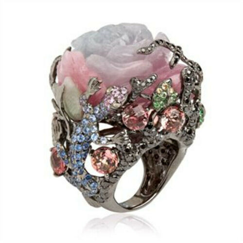 Multi-Color Gemstone Alloy Peony Flower Ring Exquisite Wedding Jewelry Fashion