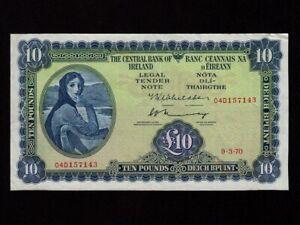 Ireland:P-66b,10 Pounds,1970 * Lady Hazel Lavery * VF+ *