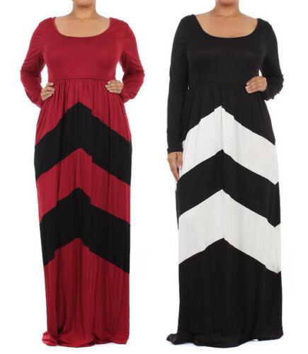 Plus Size Chevron Color Block Jersey Maxi Dress Zigzag Stripe Long Sleeve by La Couture
