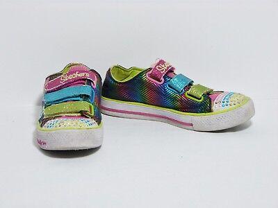 Skechers Twinkle Toes Shuffle Triple Up Glitter Light Up Sneaker Shoe Girls 11.5 | eBay