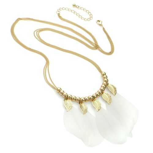 Ladies Gold white Feather Chain Charm Tessel Drop Tribal Collar Wedding Necklace