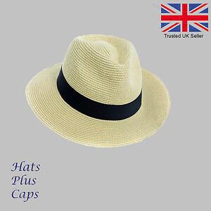 Details about Sun Hat Crushable Straw Panama Style Men s Woman s Summer Sun Travel  Fedora Hat 40ecb2432ec