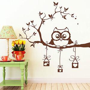 10383 wandtattoo eule auf ast mit vogelh uschen eulen herz owl vogel herzen owl ebay. Black Bedroom Furniture Sets. Home Design Ideas