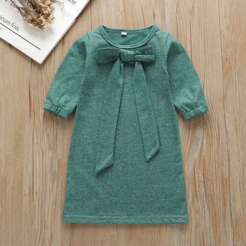 Infant Baby Kids Girls Long Sleeve Cotton Lace-up Bowknot Autumn Party Dress USA