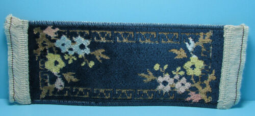 """Dollhouse Miniature Real Carpet Ruuner Navy Blue with Flowers 9/"""" x 3/"""" L3900B"""