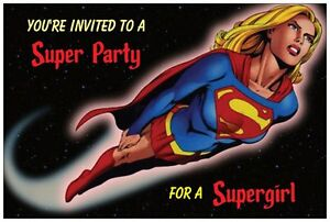 20 Supergirl Super Girl Birthday Party Invitations Post Cards