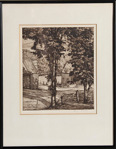 Luigi Lucioni, Untitled - Two Barns Behind Trees, Etching, signed in pencil