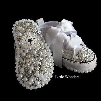 Swarovski Rhinestone   Pearl Infant Baby Unisex White Converse Shoes ... cc1223f9f