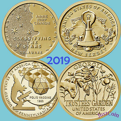 P/&D - Type A /& B DOLLAR UNCIRCULATED 4 COIN SET 2019 AMERICAN INNOVATION PA