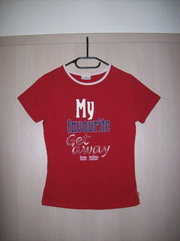 """Damen-kurzarm-shirt """"tom Tailor"""", Gr. 36 / S, Rot Mit Buntem Text-aufdruck Bequem Zu Kochen"""
