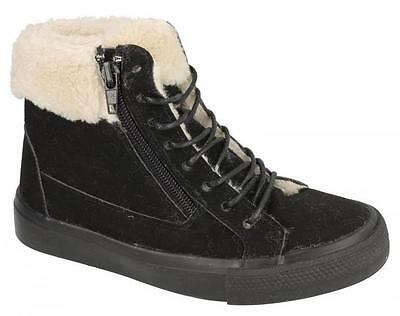 Girls Spot On Black Faux Fur Lined Casual Ankle Boots Style H4102