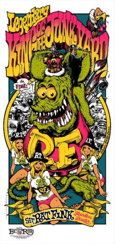 "Rockin/'Jelly Bean x Rat Fink KING OF JUNKYARD/"" Silk Screen Print from Japan NEW"
