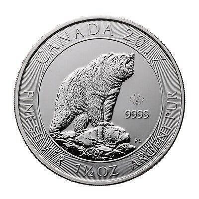 Silbermünze Kanada 8$ 2017 Grizzly 999,9er Silber 1,5 Unzen