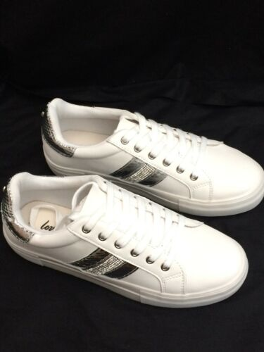Size 8 NEW SILVER TRIM WHITE NEW LOOK TRAINERS