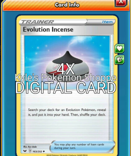 Evolution Incense 4X SWSH  Pokemon TCG Online PTCGO 163//202 DIGITAL CARD FAST
