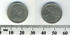 New Zealand 1970 - 5 Cents Copper-Nickel Coin - Queen Elizabeth II - Tuatara