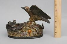 19thC Antique J & E Stevens EAGLE & EAGLETS Cast Iron Mechanical Bank NR