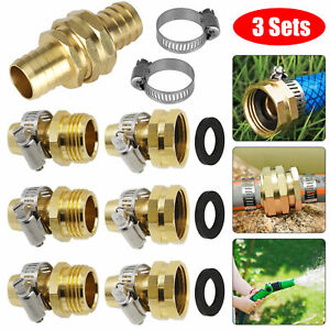 """3/4"""" Garden Brass Mender Repair Kit Water Hose Male Female Quick Connector Clamp"""
