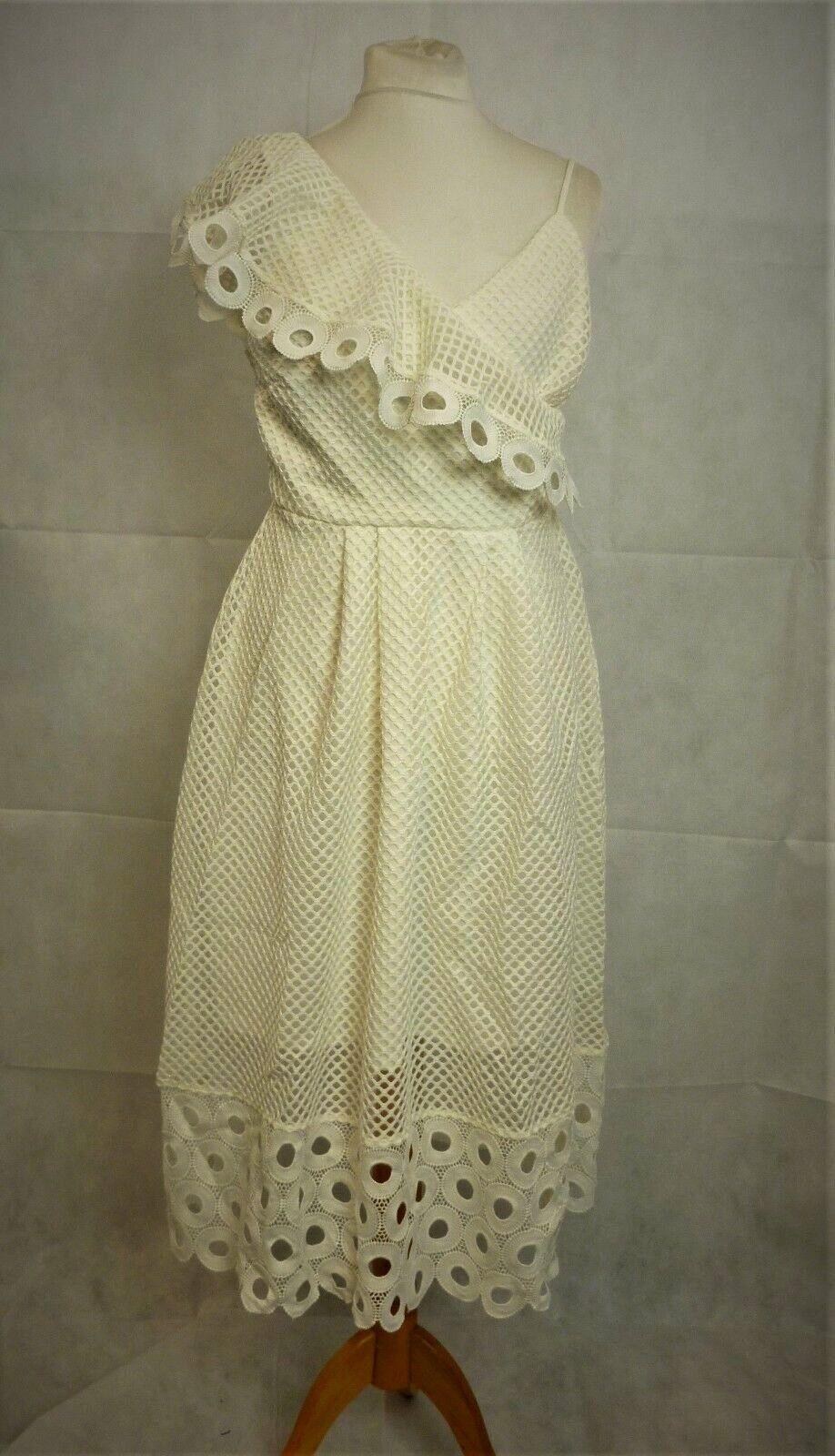 Next One Shoulder Lace Dress White Size rrp  LF170 JJ 04