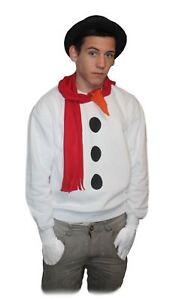 Snowman-Set-White-Christmas-Jumper-Hat-Scarf-Nose-amp-Gloves-Fancy-Dress