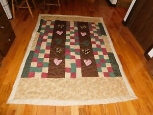 Heart applique quilt handmade cranberry and green new condition ebay