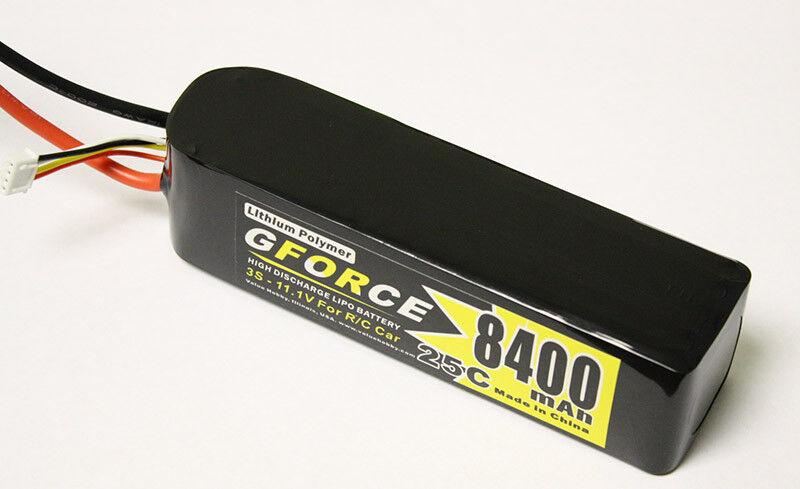 GForce 8400mAh 11.1V 3S LiPO 25C Battery for Traxxas Slash VXL 4x4 Spartan 2878X