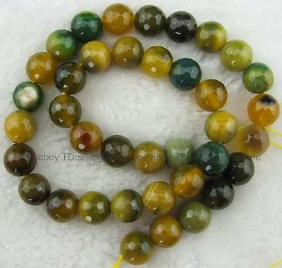 Yellow Green 10mm Round Faceted Agate Gemstone Beads 15""