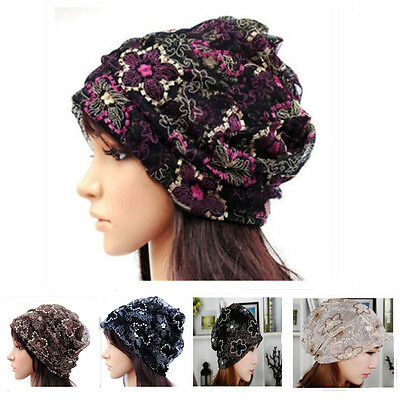 2016 New Women Chemo Bandana Beanie Hat Turban Head Wrap Cap/Neckerchief Lace