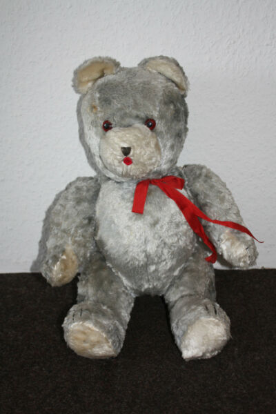 Alter Graublauer Teddy Um 1950! Elegant Und Anmutig