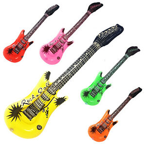 Inflatable Guitar Blow Up Fancy Dress Rock Party Disco Musical Accessories Prop