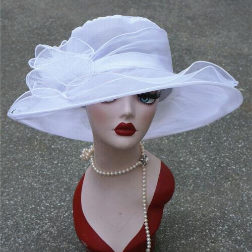 US STOCK Women Wide Brim Sun Church Dress Wedding Derby Party Floral Organza Hat