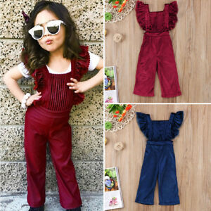 e3e95172a09a Details about US Stock Toddler Baby Girls Backless Bib Pants Romper  Jumpsuit Outfit Clothes