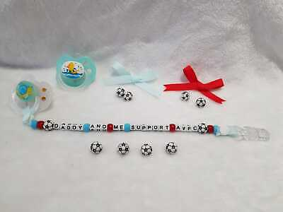 """Keepsake Manchester United FC Baby /""""Daddy And Me Support MUFC/"""" Dummy Clip"""