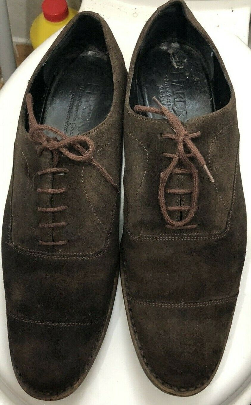 HARDRIGE Paris Black Real Leather Men's Casual Chocolate Brown Shoes Size UK 8