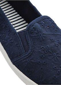 detailed pictures 06f7a cbdd3 Details zu Textil Schuhe Damen Ballerinas Slipper marine blau weiß 35 36 39  Stoffschuhe 247