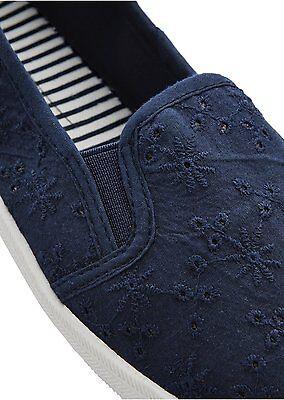 Textil Schuhe Damen Ballerinas Slipper marine blau weiß EUR 38 Stoffschuhe 247