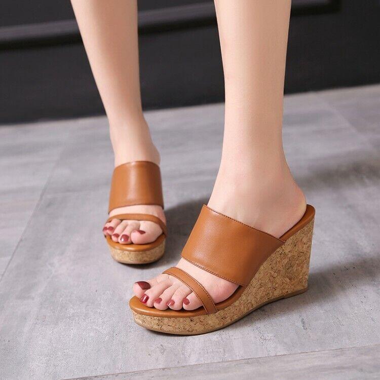 New Women Sandals Peep Toe Platform Wedge Heels Slippers Summer Leather shoes