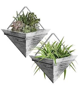 Plant Holder-Home Decor Rustic Wood 2 Wall Hanging Planter Triangle Pot