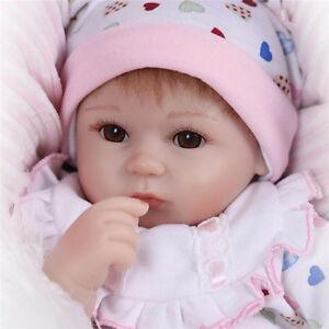 Baby-Doll-Reborn-Lifelike-Vinyl-Newborn-Girl-Handmade-Silicone-17-034-Gift-Realistic