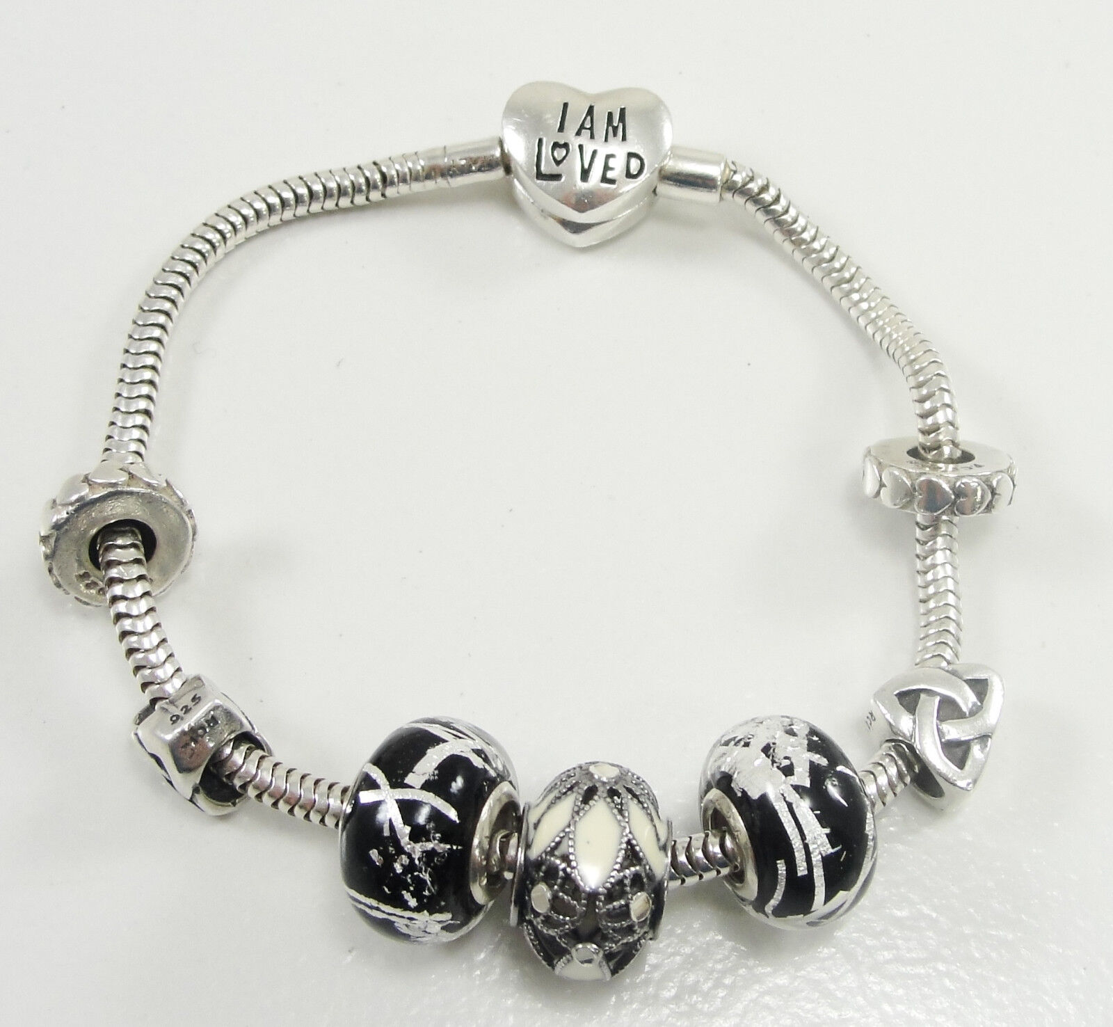 European Style Sterling Snake Chain Charm Bracelet 5 Charms Spacers Barrel Clasp