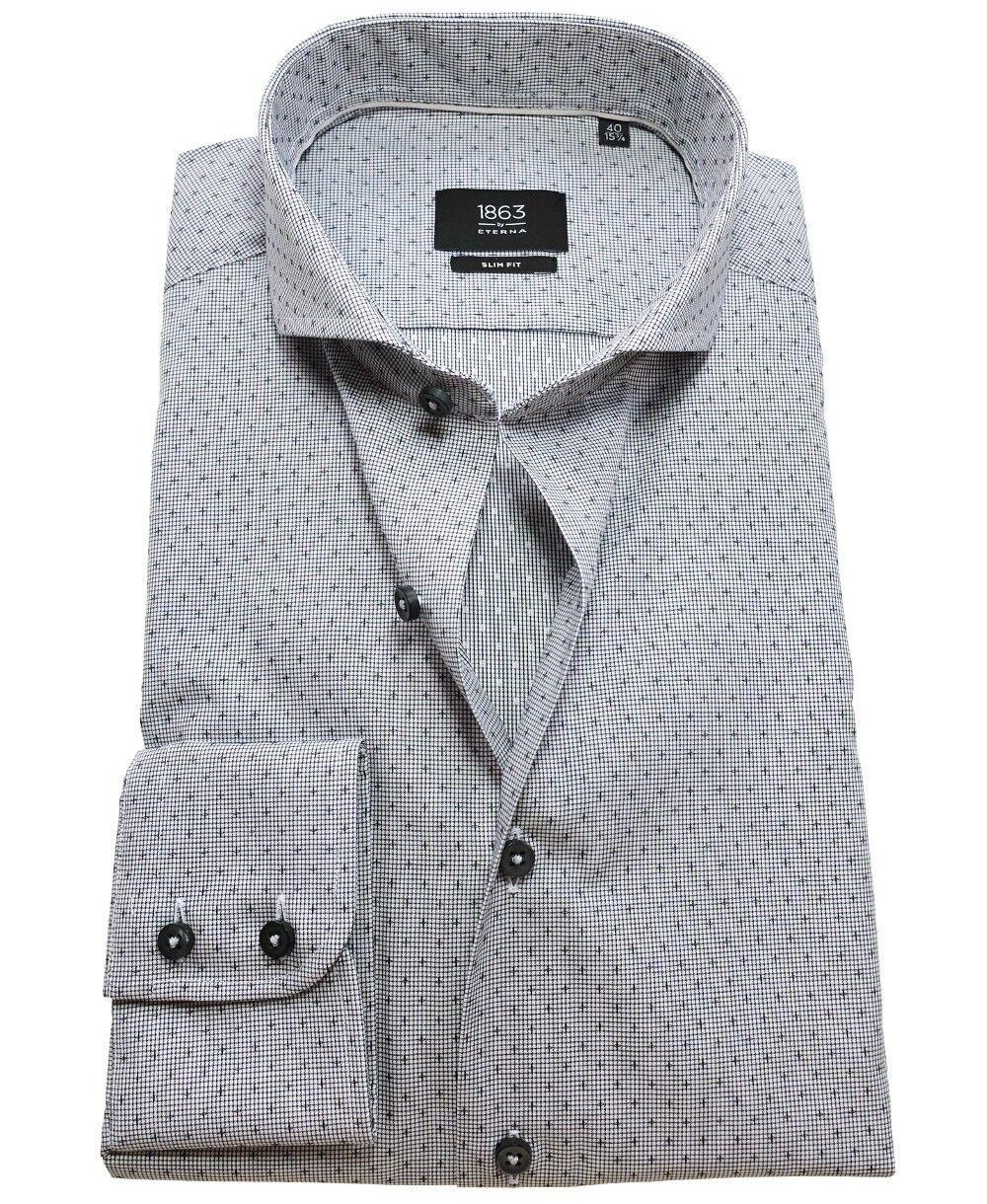 Eterna Slim Fit Langarmhemd in grau Minimaldessin Haikragen Gr. 38 bis 44