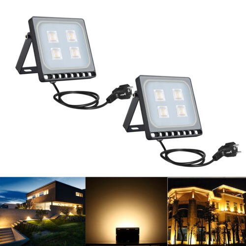 2X20W Projecteur LED avec Plug Extérieur Spotlight Jardin Lampe blanc chaud IP65