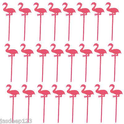 24 Flamingo Plastic Picks Summer Outdoor Party Cocktail Drinks Stirrers Sticks